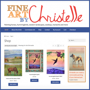Christelle Fine Art, a website by Wild Blue Pixel