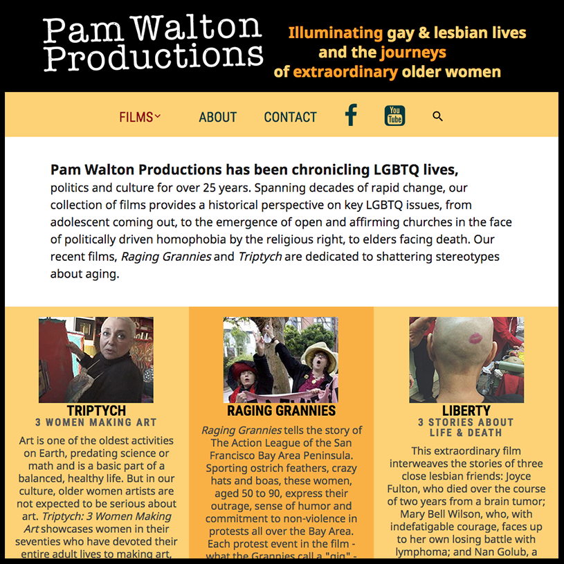 Pam Walton Productions, a website by Wild Blue Pixel